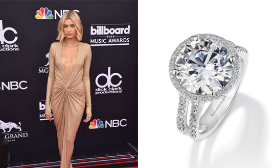 A halo diamond ring for Hailey Baldwin